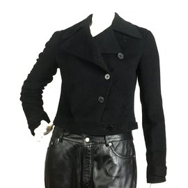 Ralph Lauren-Veste motard en laine noire-Noir