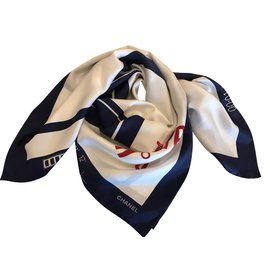Chanel-scarf-Navy blue