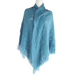 Balmain-Cape à franges-Bleu