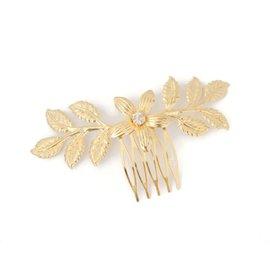 Autre Marque-Peigne à cheveux feuille en plaqué or-Doré