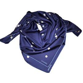 Chanel-CHANEL FOULARD-Bleu Marine