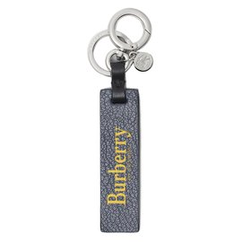 Burberry-Porte-clés en cuir avec logo-Vert