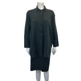 Autre Marque-Christa Fiedler ensemble jupe et veste-Vert olive