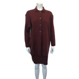 Autre Marque-Christa Fiedler ensemble jupe et veste-Bordeaux