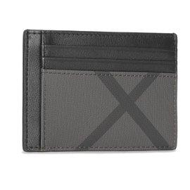 Burberry-Porte-cartes en cuir et à motif London check avec pince à billets-Noir