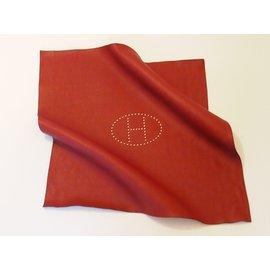Hermès-Leather Playmat-Red