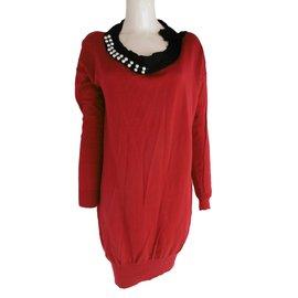Lanvin-Robe volantée à strass et perles-Rouge