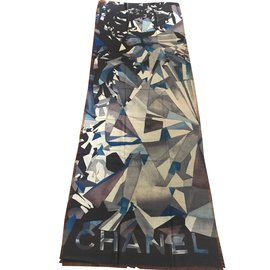 Chanel-Cashmere scarf-Navy blue