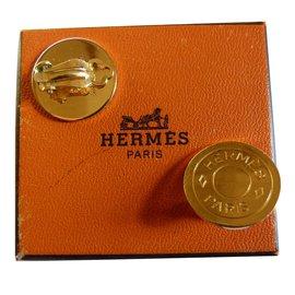 Hermès-Boucles d'oreilles-Doré