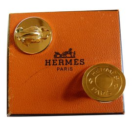Hermès-Earrings-Golden