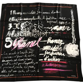 Chanel-Silk scarf-Black