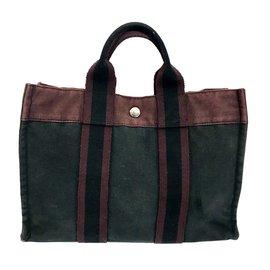 Hermès-Toto Bag-Dark red,Dark grey
