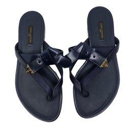 Louis Vuitton-Leather sandals-Navy blue