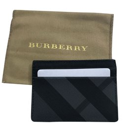 Burberry-Check and Leather Card Case-Black