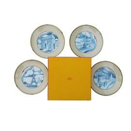 Hermès-Set of 4 plates, Memory of Paris 1989-Multiple colors