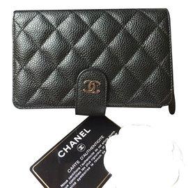 Chanel-Portefeuille zippé-Noir