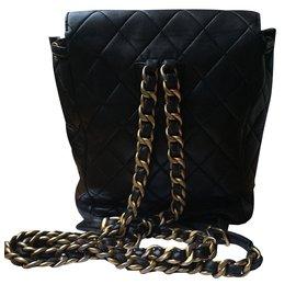 Chanel-Sac à dos vintage-Noir