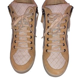 Chanel-Baskets montantes-Beige