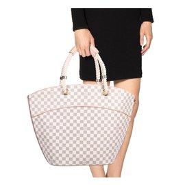 Louis Vuitton-Pampelonne GM Damier Azur Cabas (Grand Modèle)-Beige,Gris
