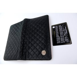 "Chanel-CHANEL Quilte ""Bow COCO"" Black Lamb Clutch Wallet-Black"