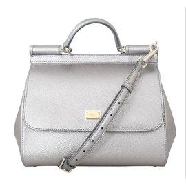 59beb11e0c33 Dolce   Gabbana-Dolce   Gabbana silver leather MISS SICILY bag-Silvery ...