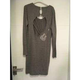 Maje-robe pull  avec détail bijou guitare Maje-Gris