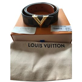 afba7e2fa689 Louis Vuitton-Checkers Ebony with V Loop-Chocolate ...