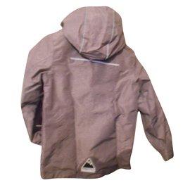Autre Marque-graue kway-windjacke und neongrüne handschuhe mit kapuze-Grau