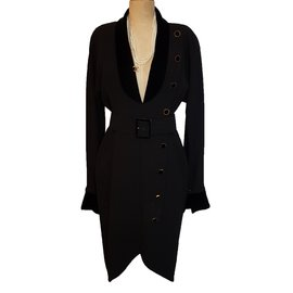 Chanel-Robe manteau-Noir