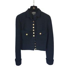 Chanel-Vestes-Doré,Bleu Marine