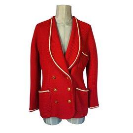 Chanel-Skirt suit-White,Red,Golden