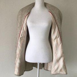 Hermès-Hermes Veste en tweed-Marron,Beige