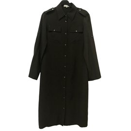 Céline-silk shirt dress-Chocolate