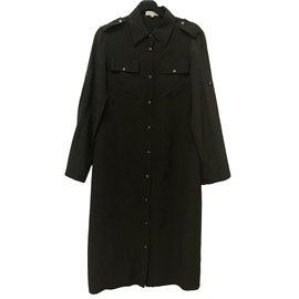 Céline-Robe chemise en soie-Chocolat