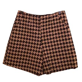 Twin Set-Twin Set Houndstooth Shorts-Brown,Beige