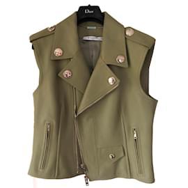 Givenchy-Veste en cuir sans manches-Vert
