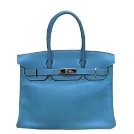 Hermès-Birkin 30 Blue Jean swift leather-Blue