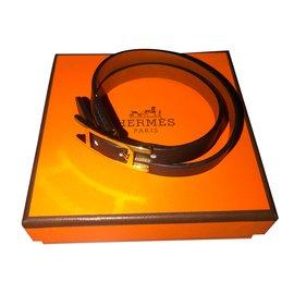 Hermès-Double Tour Bracelet réversible noir-Noir ... f6c66a3cb6a