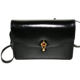 Gucci-Petit sac cuir noir Circa 1990 vintage-Noir