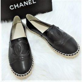 Chanel-Black Leather Espadrilles-Black