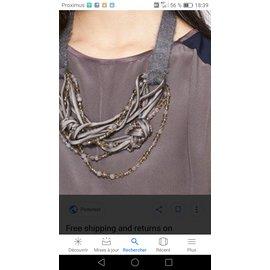 Fabiana Filippi-Knotted Multi Necklace-Dark grey