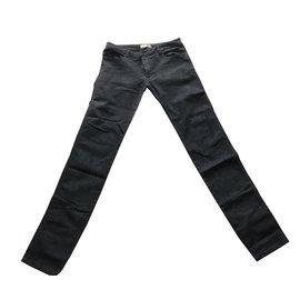 Bel Air-Pantalon noir gris imprimé python-Noir,Gris