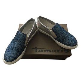 Tamaris sublimes mocassins bleu et argent pointure 38 neuves