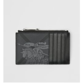 Burberry Equestrian Knight Print And Leather Zip Card Case Grey