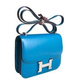 Hermès-Constance 18 Blue Izmir Tadelakt PHW-Blue