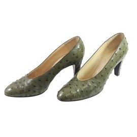 Hermès-Ostrich heels-Green