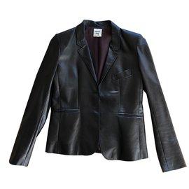 Hermès-Veste en cuir noir-Noir