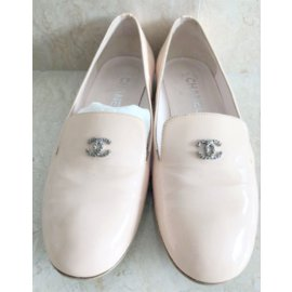 Chanel-Patent Leather pink flat loafers-Pink