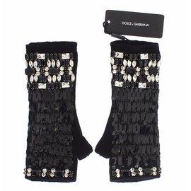 Dolce & Gabbana-Cristal de Cachemire noir sans doigts-Noir