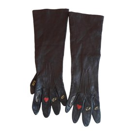 Moschino-Gants en cuir decore'-Marron foncé